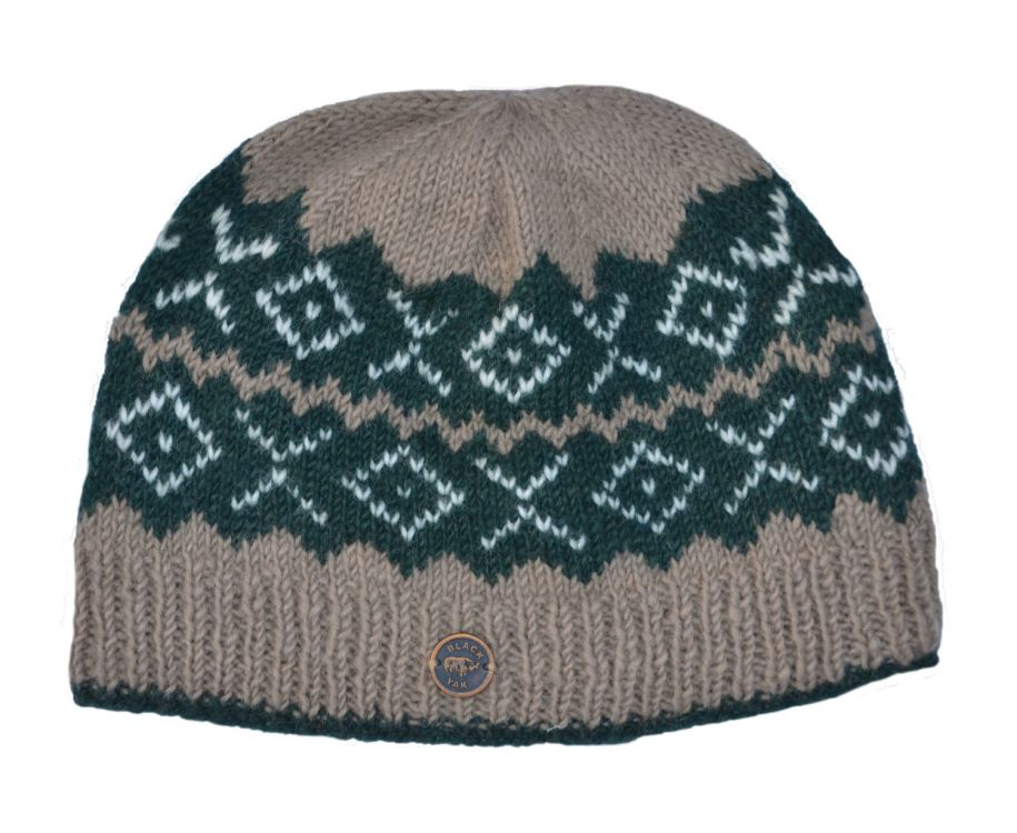 Pure wool - NAYA - Double Zigzag Beanie - Dark green