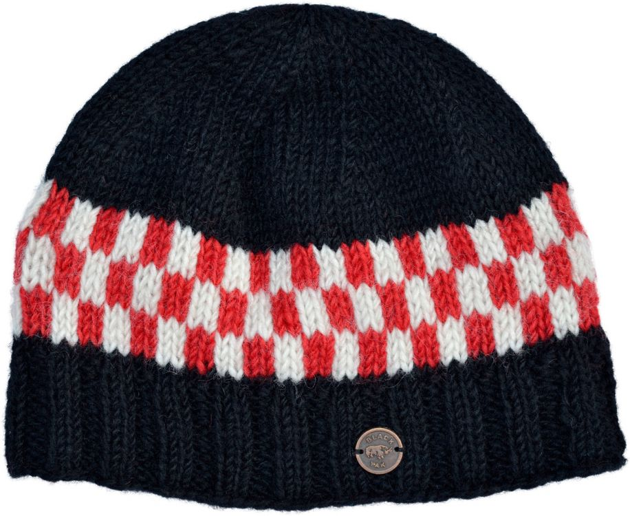 Pure wool - Checkmate Beanie - Black/red/white