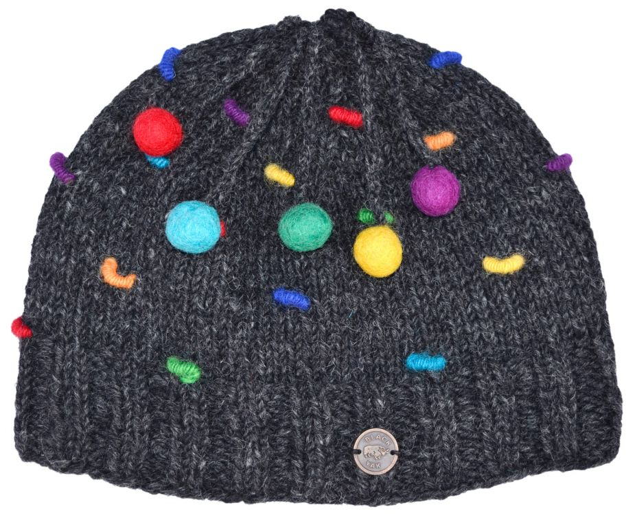 Half fleece lined - pure wool - french knot beanie - Charcoal/rainbow