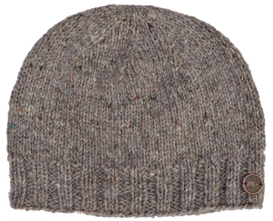 Pure wool - plain beanie - pepper grey