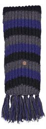 Long hand knit - striped Scarf - blue/black/grey