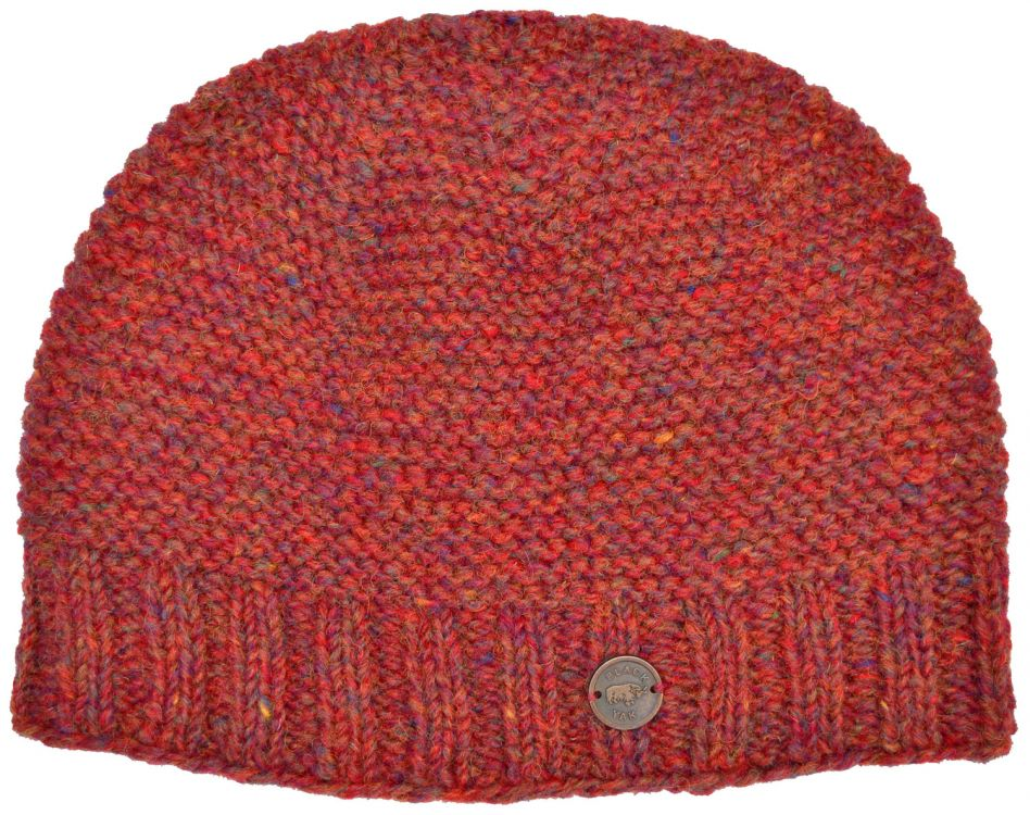 Half fleece lined - reverse ridge beanie - rust heather