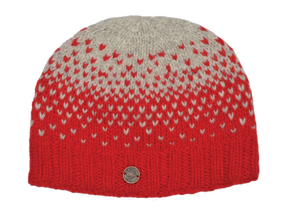 Pure wool - graduated tick beanie - Red/grey
