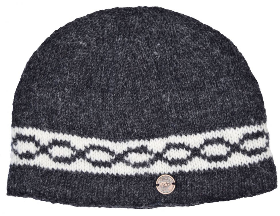 Hand knit - classic twist beanie - charcoal