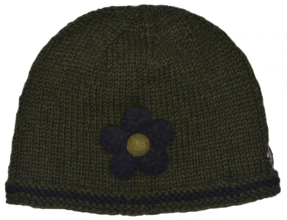 Half fleece lined - pure wool - felt flower beanie - Green/Black