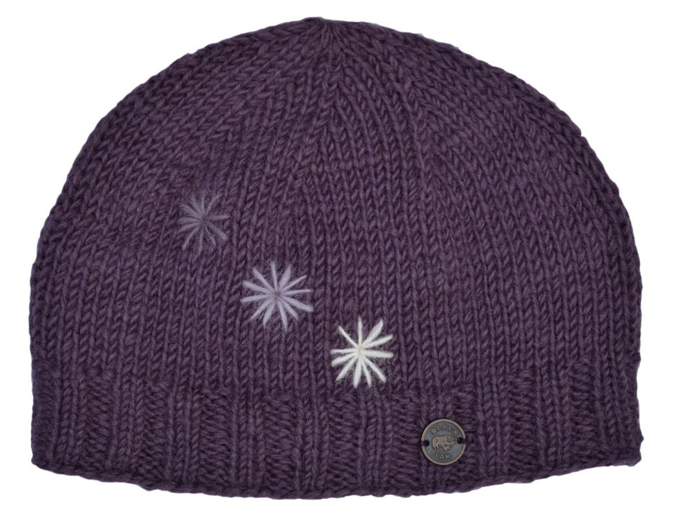 Hand embroidered - three star beanie - grape