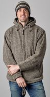 crochet edged - detachable hooded jacket - Marl brown