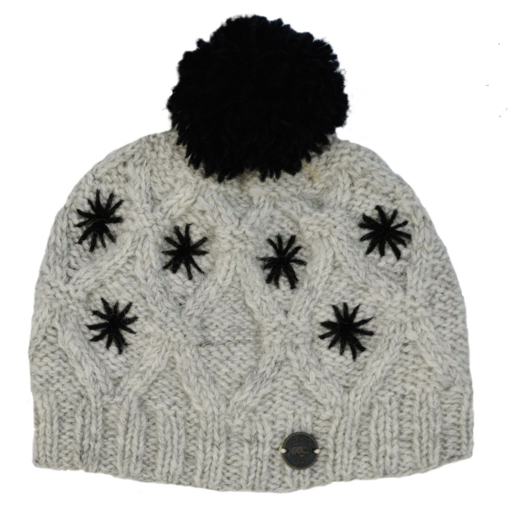 64e7f9c7 pure wool - diamond cable bobble hat - Greys/Black | Black Yak