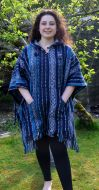 Brushed cotton - gheri fabric - poncho - blue