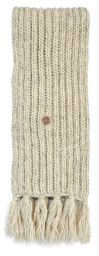 Long hand knit - fringed scarf - pale marl grey